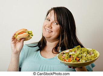 fett, vit, kvinna, ha, val, mellan, hamburgare, och, sallad