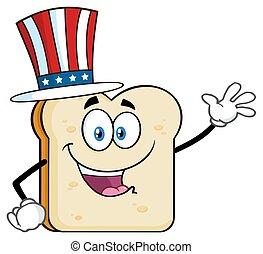 fetta, carattere, augurio, ondeggiare, americano, mascotte, cartone animato, bread