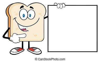 fetta, carattere, cartone animato, bread