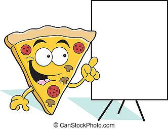 fetta, cartone animato, indicare, pizza