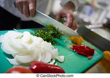 fetta, chef, verdura, coltello, albergo, cucina