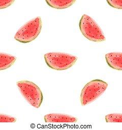 fetta, cibo, frutta, acquarello, crudo, vettore, anguria,...