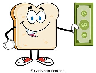 fetta, conto dollaro, presa a terra, bread