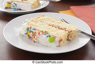 fetta, di, bianco, torta