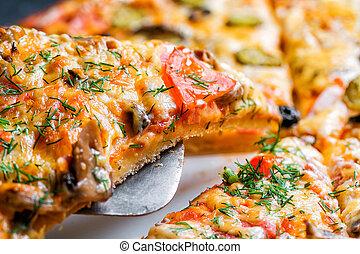 fetta, di, delizioso, fresco, caldo, pizza, con, funghi