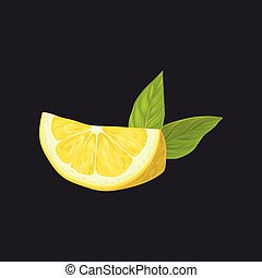 Fetta limone smiley faccia gialla mette foglie vettore - Foglie limone nere ...