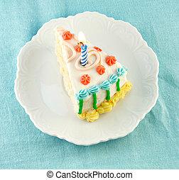 fetta, di, torta compleanno