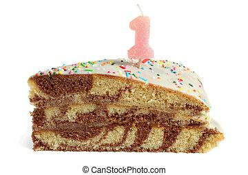 fetta, di, torta compleanno, con, numero, candela