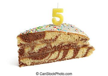 fetta, di, torta compleanno, con, numero cinque, candela
