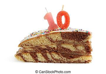 fetta, di, torta compleanno, con, numero, dieci, candela