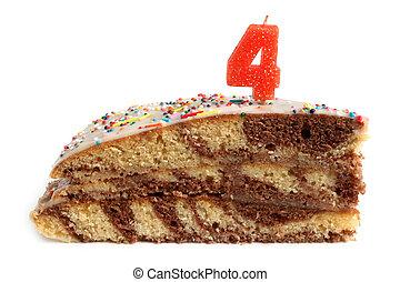 fetta, di, torta compleanno, con, numero quattro, candela