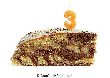 fetta, di, torta compleanno, con, numero tre, candela