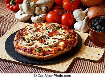 fetta, fungo, pizza