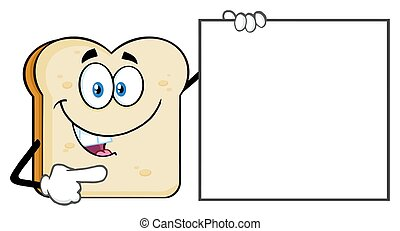 fetta, indicare, carattere, segno, parlare, vuoto, mascotte, cartone animato, bread