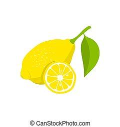 fetta, limone, illustrazione, fondo., vettore, bianco, icon.