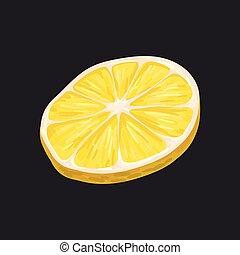 fetta, limone, illustrazione, frutta, vettore, sfondo nero, fresco