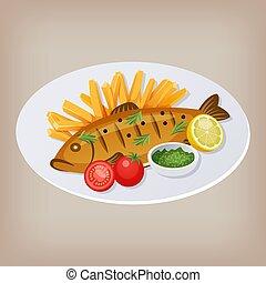 fetta, limone, pomodori, salsa, fish, illustrazione, vettore, piastra., patatine fritte