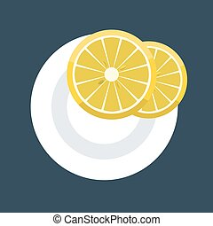 fetta, piastra., due, illustrazione, vettore, cunei, limone
