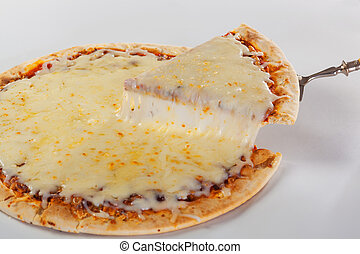 fetta pizza, con, caramellato, mozzarrella