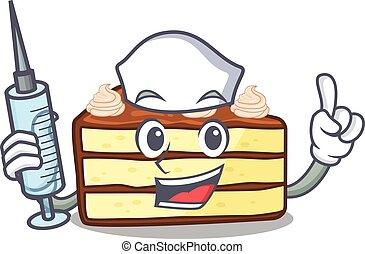 fetta torta, infermiera, carattere, cioccolato, ospitale, ...