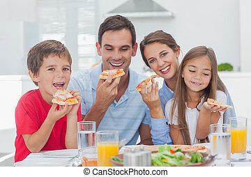 fette, famiglia, pizza, mangiare