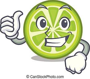fette limone, su, verde, pollici, bottiglia, cartone animato