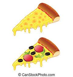 fette, vettore, illustrazione, pizza