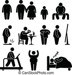 fettleibigkeit, übergewichtige , dicker mann