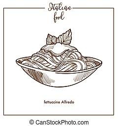 Fettuccine Alfredo pasta sketch vector icon for Italian...