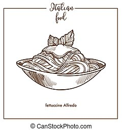 Fettuccine Alfredo pasta sketch vector icon for Italian cuisine food menu design