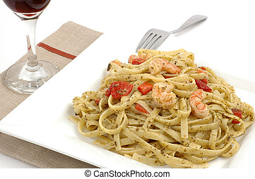 Fettuccine and Shrimp - Fettuccine with pesto roasted...