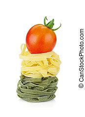 fettuccine, ninho, macarronada, com, tomate, cereja