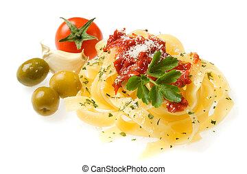 Fettuccine pasta isolated on white - Italian fettuccine...