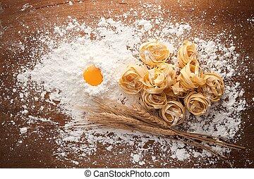 fettuccine pasta italian food still life rustic flat lay...