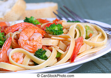 Fettuccine Pasta with Shrimp and Vegetables - Fettuccine...