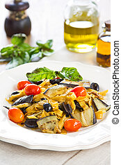 Fettuccine with Aubergine and olive