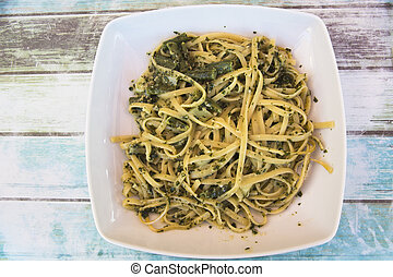 Fettuccine with Fresh Pesto