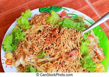 fettucina, -, gamberetto, asiatico, cibo., fritto