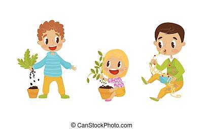 fettucina, ragazza, mani, mangiare, vettore, illustrazione, birichino, sradicando, set, ragazzo, piante