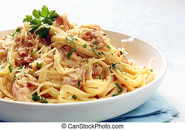 Fettucine Carbonara - Fettucine carbonara in a white bowl, ...