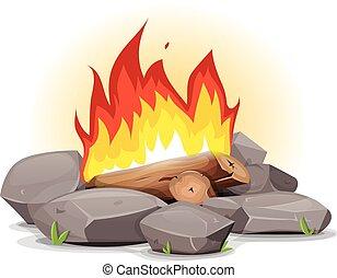 feu camp, à, brûlé, flammes