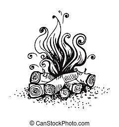 feu camp, brûler, sur, bois, logs., noir blanc, graphique,...