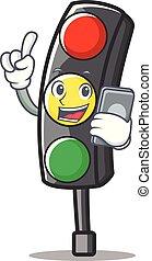 feu circulation, caractère, dessin animé, téléphone