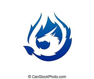 feu dragon, flamboyant, bleu, vecteur