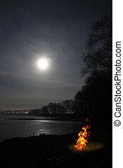 feu, flamme, et, lune, sur, lac