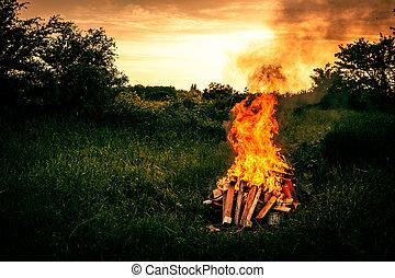 feu, paysage