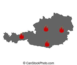 feuer, österreich, symbol, landkarte