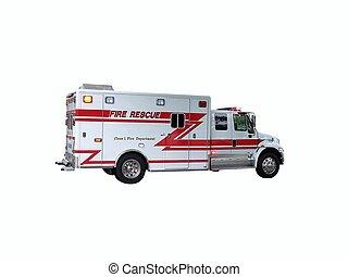 feuer, 2, lastwagen, rettung