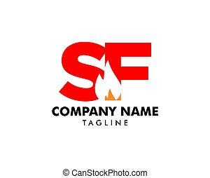 feuer, abzeichnen, design, brief, logo, sf