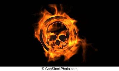 feuer, brennender, totenschädel, symbol.